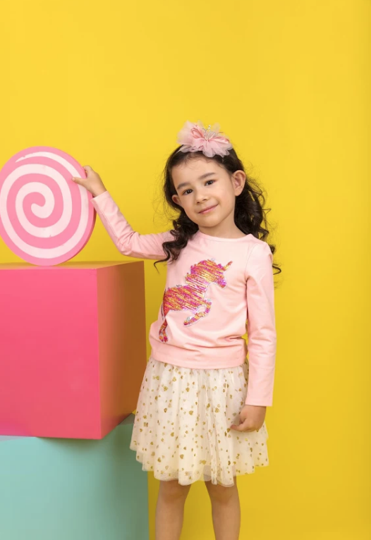 For Beloved Children Pink Unicorn Flip Sequin Top & Skirt Set