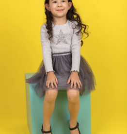 For Beloved Children Gray Sparkle Star Applique Dress