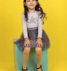For Beloved Children Gray Sparkle Star Applique Dress