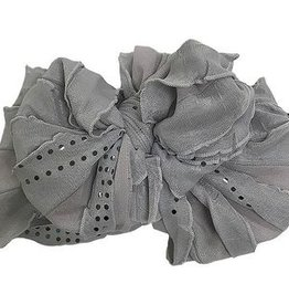 In Awe Couture Ruffle Headband Grey Sequin Dots