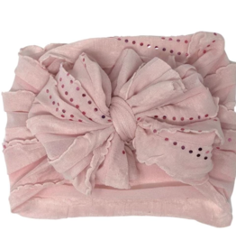 In Awe Couture Ruffle Headband Blush Pink Sequin Dots