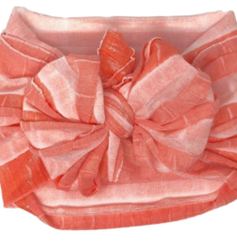 In Awe Couture Ruffle Headband Coral Ombre Silver Shimmer