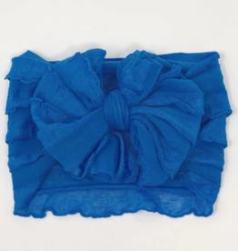 In Awe Couture Ruffle Headband Cyan Blue