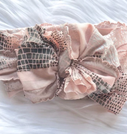 In Awe Couture Ruffle Headband Pink Silver Snake