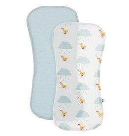 Kickee Pants Burp Cloth Set (Natural Puddle Duck/Spring Sky)