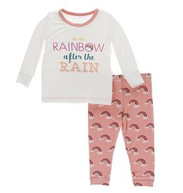 Kickee Pants Print LS Pajama Set Blush Rainbow After the Rain
