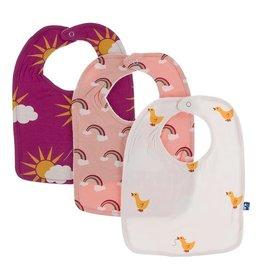 Kickee Pants Bib Set (Berry Sun/Blush Rainbow/Macaroon Duck)