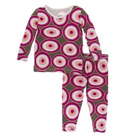 Kickee Pants Print LS Pajama Set Falcon Agate Slices