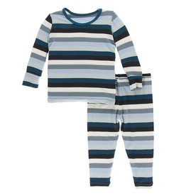 Kickee Pants Print LS Pajama Set Meteorology Stripe