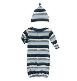 Kickee Pants Print Gown Converter & Hat Set Meteorology Stripe