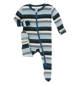 Kickee Pants Print Footie Zipper Meteorology Stripe