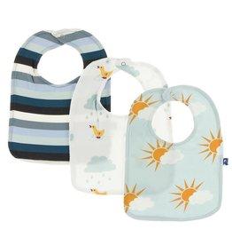 Kickee Pants Bib Set (Meteorology Stripe/Natural Duck/Spring Sky Sun)