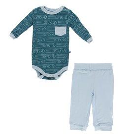 Kickee Pants Print LS Pant Outfit Set Heritage Blue Wind