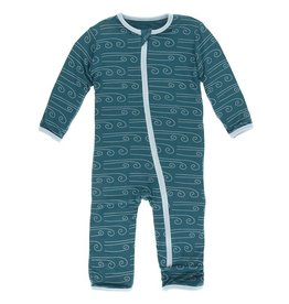 Kickee Pants Print Coverall Zipper Heritage Blue Wind