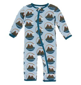 Kickee Pants Print Coverall Zipper Pond Volcano