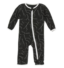 Kickee Pants Print Coverall Zipper Zebra Lightning