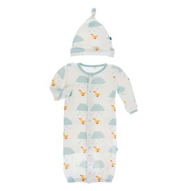 Kickee Pants Print Gown Converter & Hat Set Natural Puddle Duck