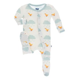 Kickee Pants Print Footie Snaps Natural Puddle Duck