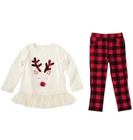Mud Pie Alpine Check Tunic & Legging Set (Reindeer)