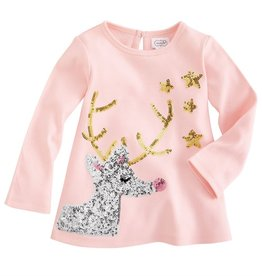 Mud Pie Gold/Silver Sequin Reindeer Tunic