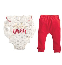 Mud Pie Santa's Favorite Onesie & Red Pant Set