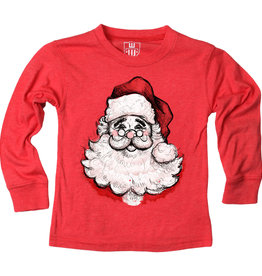Wes And Willy LS Santa Face Blend Tee Cherry