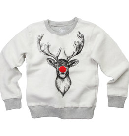 Wes And Willy LS Reindeer Reverse Fleece Top Heather