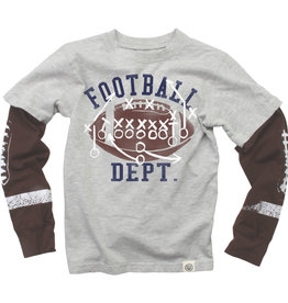 Wes And Willy LS Football Sleeve Tee Heather