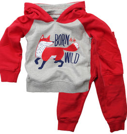 Wes And Willy LS Born To Be Wild Hoody Set Cherry