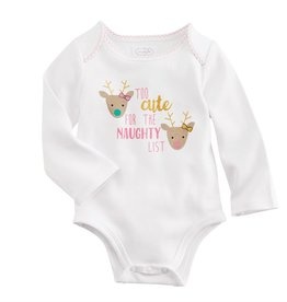 Mud Pie Too Cute/Naughty List Onesie, 0/6M