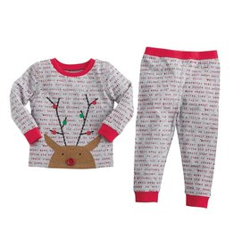 Mud Pie Gray Rudolph Pajamas