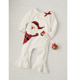Mud Pie Cream/Gold Dot Santa Alpine Ruffle One Piece