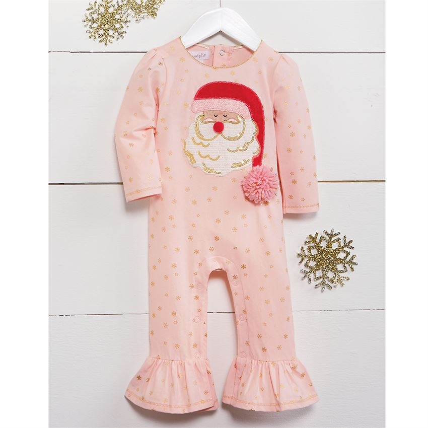 Mud Pie Pink Santa One Piece (Sequin/Pom)