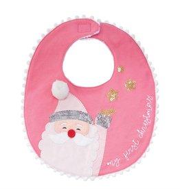 Mud Pie Pink My 1st Christmas Bib (Santa)