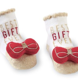 Mud Pie Red Bow Rattle Toe/Best Gift Ever Sock