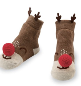 Mud Pie Reindeer Rattle Toe Sock (Nose Rattles)