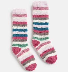 Joules Fluffy Socks Pink Multi Stripe
