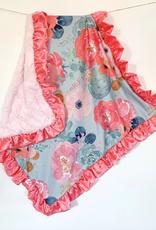 Rockin Royalty Aqua Floral Watercolor Blanket (Full Size)