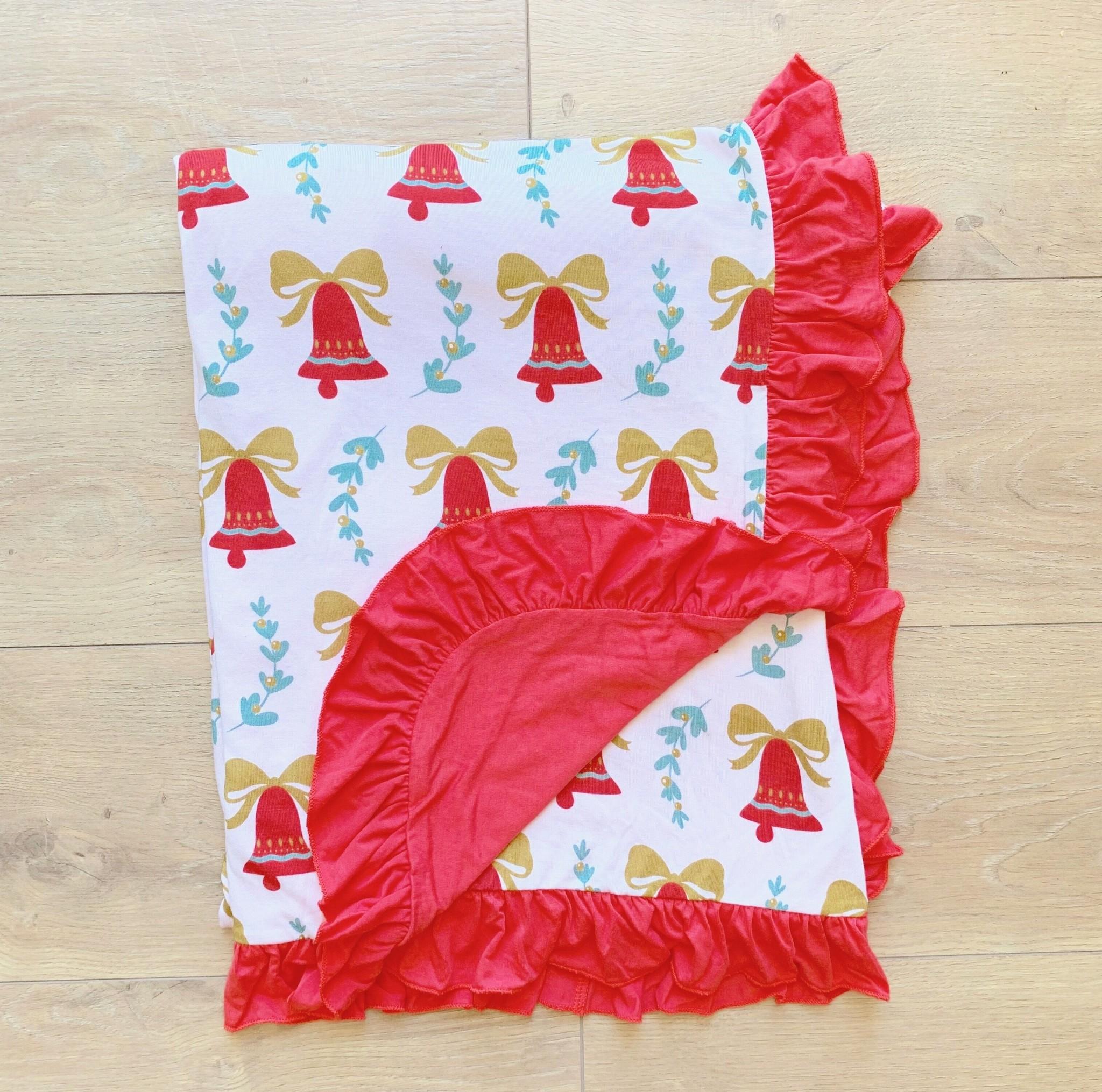 Kozi & Co Bells & Mistletoe Ruffle Blanket (34 x 44 inches)