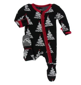 Kickee Pants Muff. Ruff. Zip Footie Midnight Foil Tree