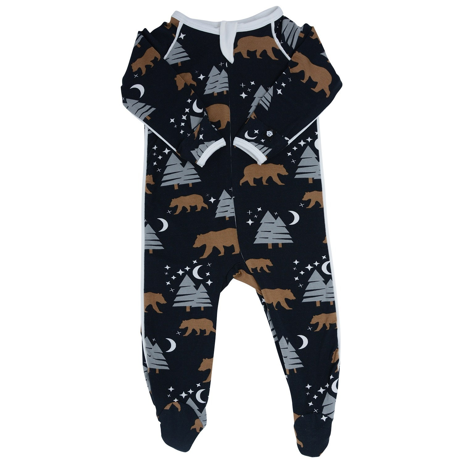 Sweet Bamboo Piped Footie Brown Bear Print Black
