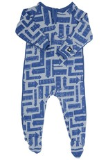 Sweet Bamboo Piped Footie Which Way Print Blue