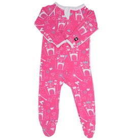 Sweet Bamboo Piped Footie Castle Print Hot Pink