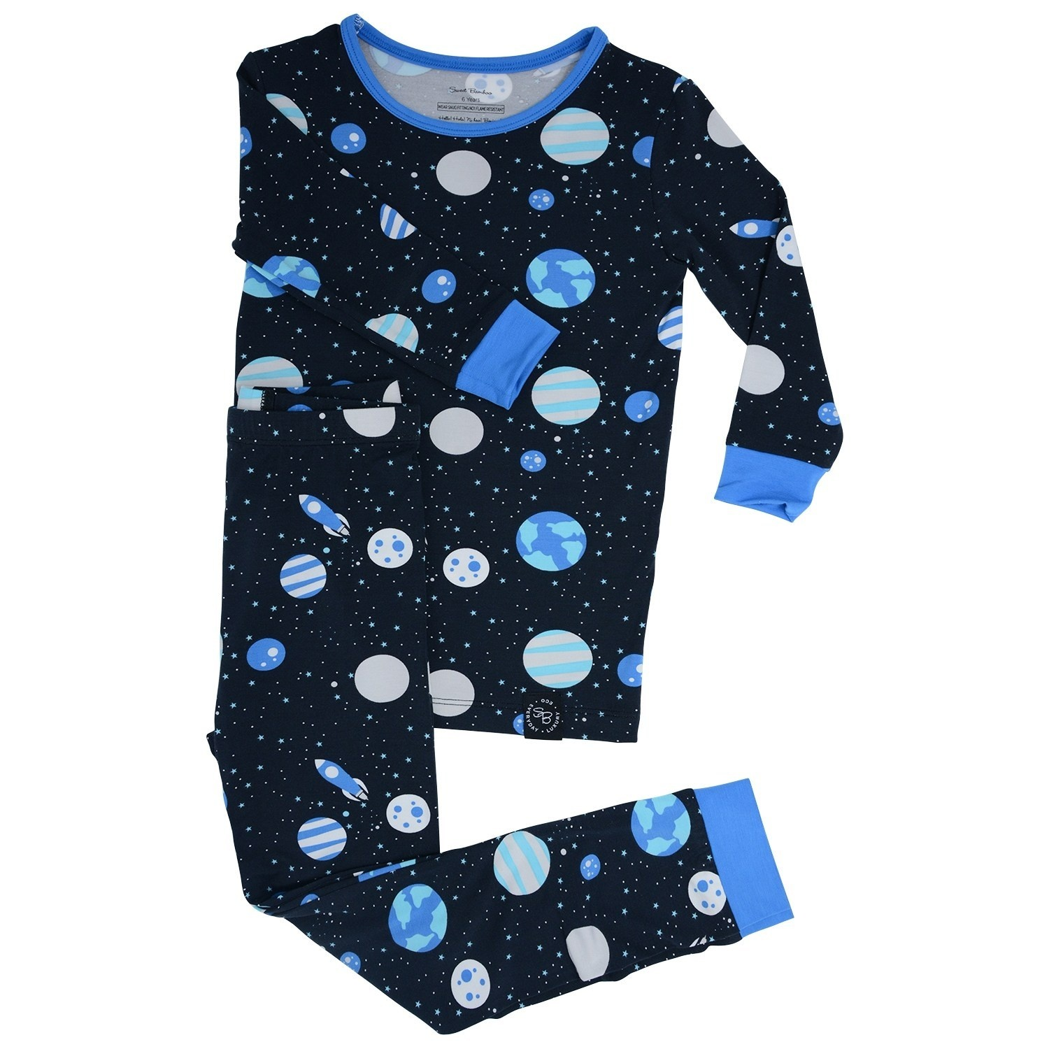 Sweet Bamboo Big Kid Pj Set Space Print