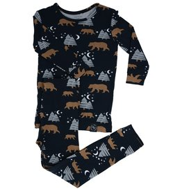 Sweet Bamboo Big Kid Pj Set Brown Bear Print Black