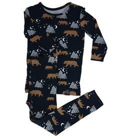 Sweet Bamboo Big Kid Pj Set Brown Bear Print Black