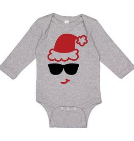 Sweet Wink Santa Sunglasses LS Bodysuit Gray