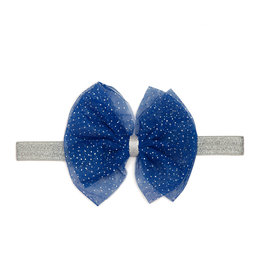 Sweet Wink Blue/Silver Bow Soft Headband