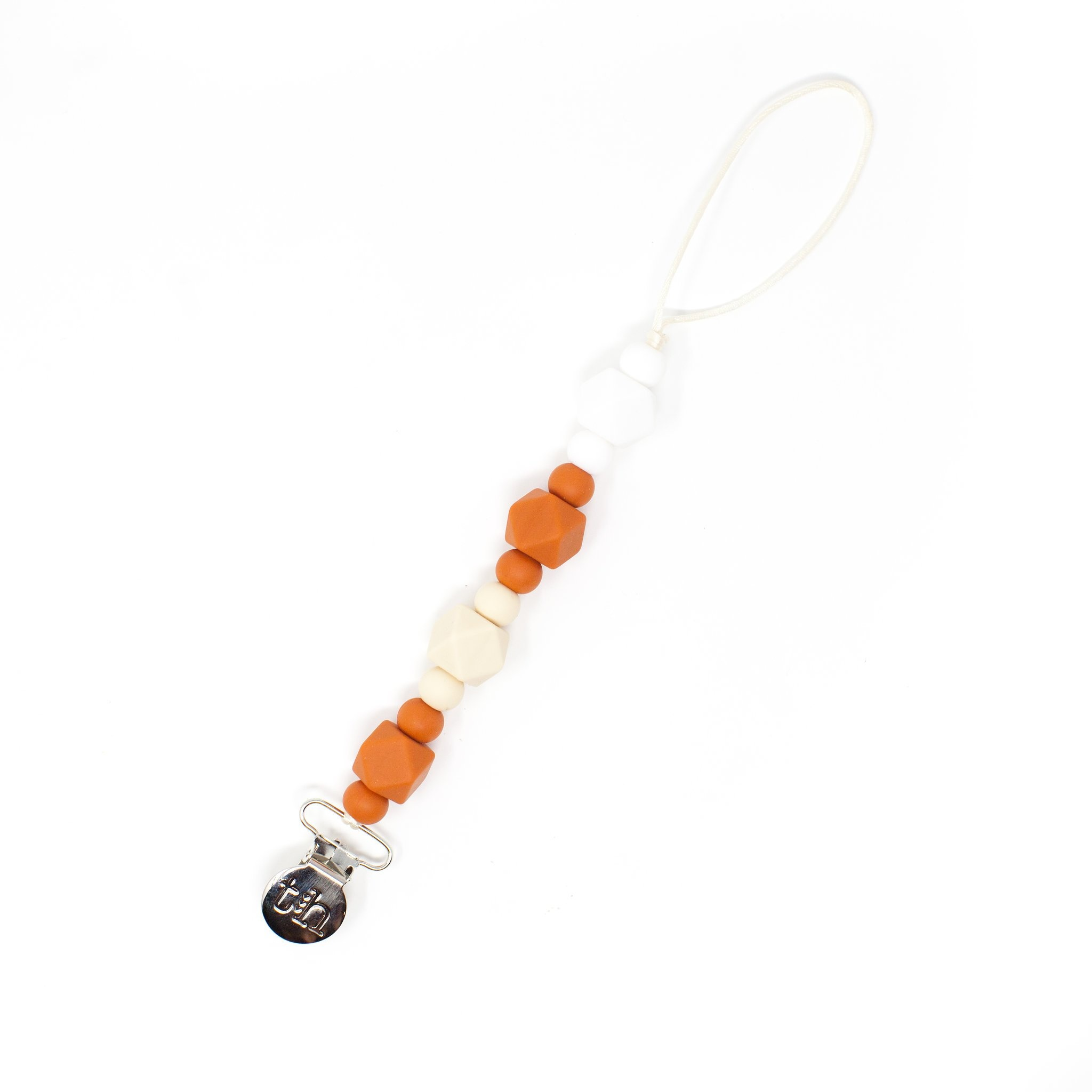 Three Hearts Jewel Paci/Toy Clip in Burnt Orange