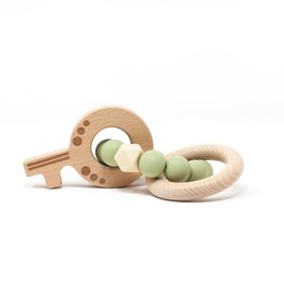 Three Hearts Key Teething Rattle (Wood/Silicone) Lint